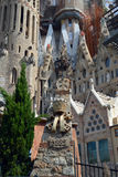 Sagrada Familia. In Barcelona center captivates with its extremely high towers and adorned with bows. Cathedral commissioned by the project by famous Spanish Stock Images