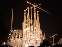 Sagrada Familia in Barcelona night Royalty Free Stock Photos