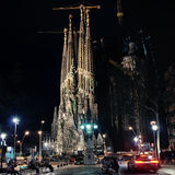 Sagrada Familia, Barcelona at night Royalty Free Stock Photos