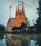 Sagrada Familia in Barcelona at night Stock Photo