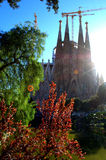 Sagrada Familia,Barcelona. Picturesque view of Sagrada Familia Cathedral(Holy Family)and Placa Gaudi park in Barcelona,Spain Royalty Free Stock Photos