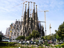 Sagrada Familia in Barcelona, Spain. BARCELONA, SPAIN - APRIL 15: La Sagrada Familia - the impressive cathedral designed by Gaudi, which is being build since 19 Royalty Free Stock Photography
