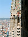 Sagrada Familia, Barcelona, Spain. Close detail from up high on one of the spires atop the famous Barcelona landmark, Gaudi's Sagrada Familia cathedral stock image