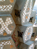 Sagrada Familia, Barcelona, Spain. Close detail from up high on one of the spires atop the famous Barcelona landmark, Gaudi's Sagrada Familia cathedral stock photos