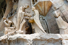 Sagrada Familia - Barcelona Spain. Details of the facade of the famous Catholic basilica of the Sagrada Familia in Barcelona, Catalonia, Spain. Designed by Royalty Free Stock Photos