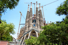 Sagrada Familia, Barcelona, Spain, Europe. Sagrada Familia (Basílica i Temple Expiatori de la Sagrada Família), Gaudi's most famous church in Barcelona, Spain Royalty Free Stock Photography