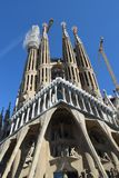 Gaudi`s Sagrada Familia in Barcelona, almost ready?. The Sagrada Familia in Barcelona, Spain, the famous cathedral of Gaudi. Standing out against the blue sky Stock Photos