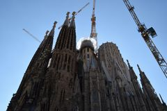 Gaudi`s Sagrada Familia in Barcelona, a new pyramid is born. The Sagrada Familia in Barcelona, Spain, the famous cathedral of Gaudi. Standing out as a new Stock Image