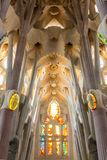 Sagrada Familia Barcelona. Barcelona, Spain - Jun 10:Interior of  La Sagrada Familia - designed by Gaudi, which is being build since 19 March 1882 and is not Royalty Free Stock Photo