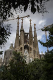 Sagrada Familia, Barcelona. Barcelona, Spain - September 19, 2015: Sagrada Familia Passion facade side. Gaudi's profound catholicism inspired his designs of Royalty Free Stock Photo