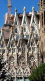 Sagrada Familia in Barcelona, Spain. View of the cathedral from the outside royalty free stock image
