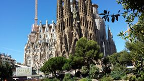 Sagrada Familia in Barcelona, Spain. View of the cathedral from the outside royalty free stock photo
