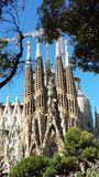 Sagrada Familia in Barcelona, Spain. View of the cathedral from the outside royalty free stock images