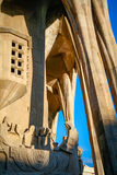 Sagrada Familia in barcelona with sunshine and blue sky and a last supper monument Stock Photo