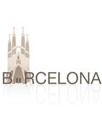 SAGRADA FAMILIA, BARCELONA. Vectors of European monumental cities Stock Images