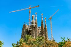 Sagrada Familia. Basilica and Expiatory Church of the Holy Family. Building a temple in Barcelona, Spain stock photography