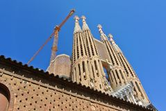 Barcelona, Catalonia. Sagrada Familia Basilica and the Holy Family Expiatory Church Stock Photos