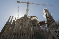 Sagrada Familia building. Building of Sagrada Familia basilica (designed by Modernist architect Antonio Gaudi in Barcelona, Catalonia, Spain stock image