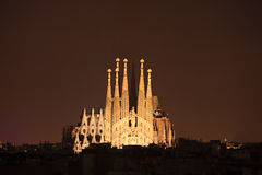 Sagrada familia cathedral in Barcelona, Spain. At night Royalty Free Stock Photography