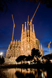 Sagrada familia cathedral in Barcelona, Spain. At night stock photos