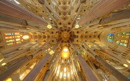 Sagrada Familia cathedral interior, Barcelona Spain Stock Photos