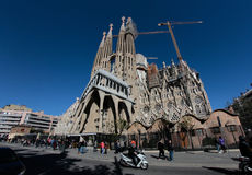 Sagrada familia cathedral wide view. The Sagrada Familia cathedral designed by architect Antonio Gaudi, under construction since 1882 and not yet finished but Stock Photography