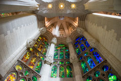 Sagrada Familia ceiling. Architecture detail.Barcelona Spain Royalty Free Stock Photo
