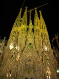 The Sagrada Familia Church in Barcelona at night stock photo