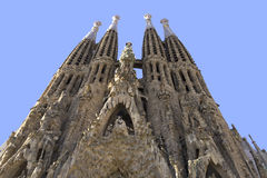 Sagrada Familia church in Barcelona, Spain. BARCELONA, SPAIN - OCTOBER 27: La Sagrada Familia - the impressive cathedral designed by Gaudi, which is being build Royalty Free Stock Photos