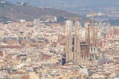 Sagrada Familia in a Cityscape Stock Images