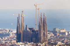Sagrada Familia in a Cityscape Royalty Free Stock Images