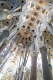 Sagrada Familia columns and ceiling, by Antoni Gaudi, Barcelona Royalty Free Stock Photos