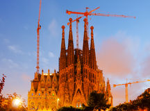 Sagrada Familia in evening Royalty Free Stock Image