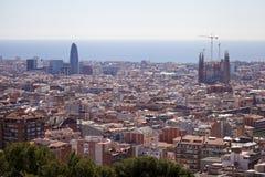 Sagrada Familia flyg- sikt Arkivfoton