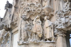 Sagrada familia front sculpture, Joseph and Mary Stock Photo