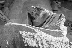Sagrada Familia grieving woman Royalty Free Stock Photo