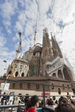 Sagrada Familia (Holy Family). Sightseeing bus royalty free stock photography