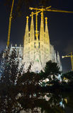 Sagrada Familia i afton Barcelona Royaltyfri Fotografi