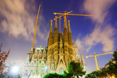 Sagrada Familia i aftontid barcelona spain Royaltyfria Bilder