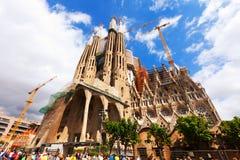 Sagrada Familia i Barcelona, Spanien Fotografering för Bildbyråer