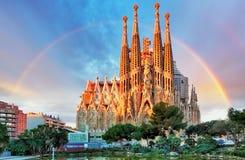 Sagrada Familia, i Barcelona, Spanien Arkivfoto