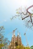 Sagrada Familia i Barcelona, Spanien, Europa. Fotografering för Bildbyråer