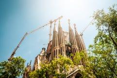 Sagrada Familia i Barcelona, Spanien, Europa. Arkivbilder