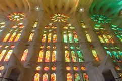 Sagrada Familia indoor, Spain. La Sagrada Familia  cathedral designed by Gaudi Royalty Free Stock Image