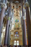 Sagrada Familia. Inside the famous church in Barcelona. UNESCO World Heritage Site Royalty Free Stock Photo