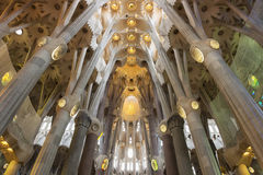 Sagrada Familia interior, Barcelona, Catalonia, Spain Royalty Free Stock Photo