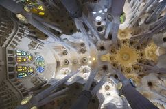 Sagrada Familia interior, Barcelona, Spain Stock Image