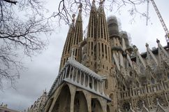 Sagrada Familia kathedraal in Barcelona, Spanje stock afbeeldingen