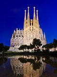 Sagrada Familia kyrka i Barcelona, Spanien Fotografering för Bildbyråer