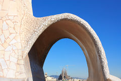 Sagrada Familia from La Pedrera Stock Photography